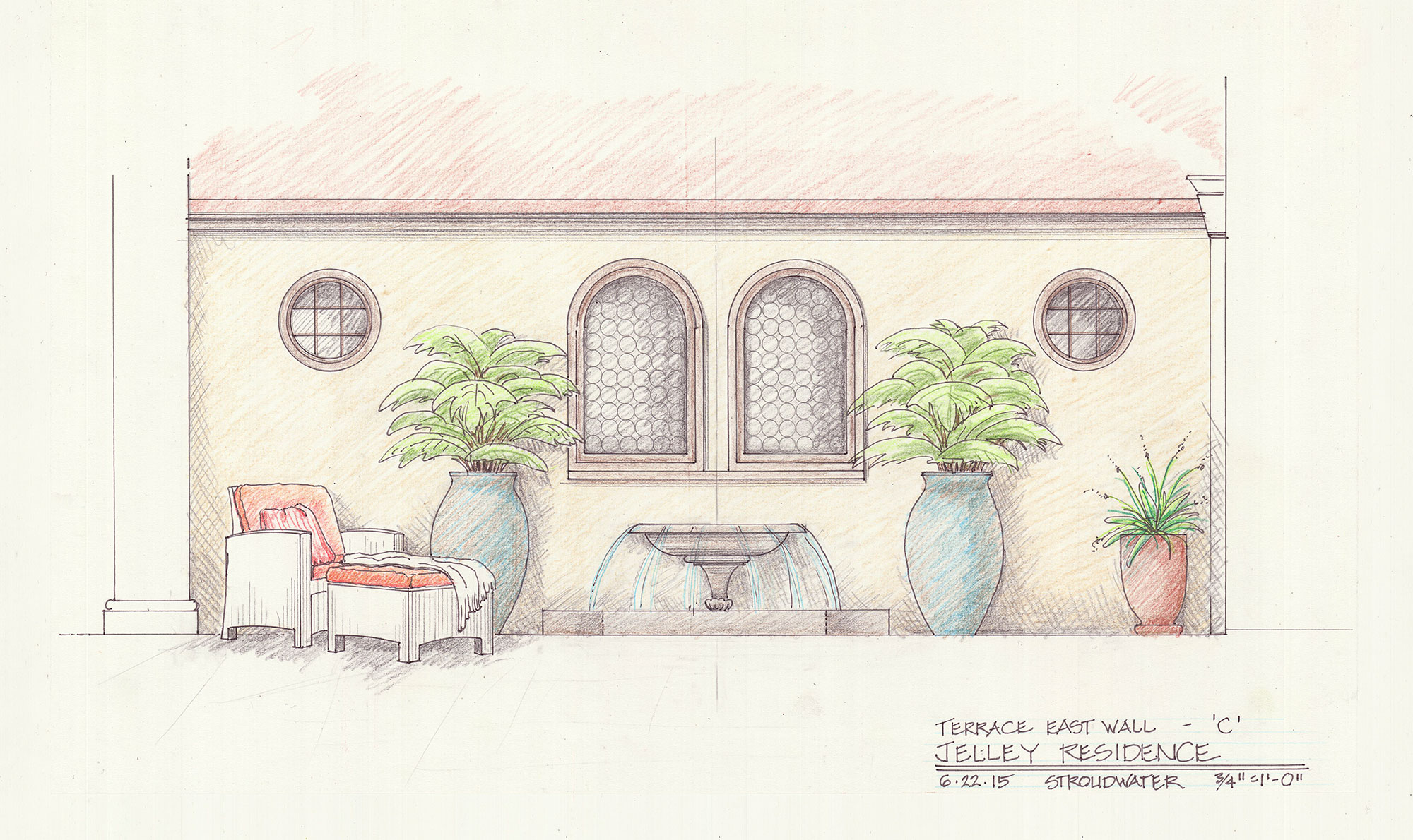 Oakland-Residence-Wall-Fountain-Sketch-Study